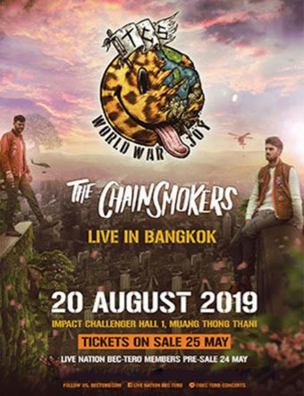 The Chainsmokers World War Joy ASIA TOUR 烟鬼 曼谷演唱会