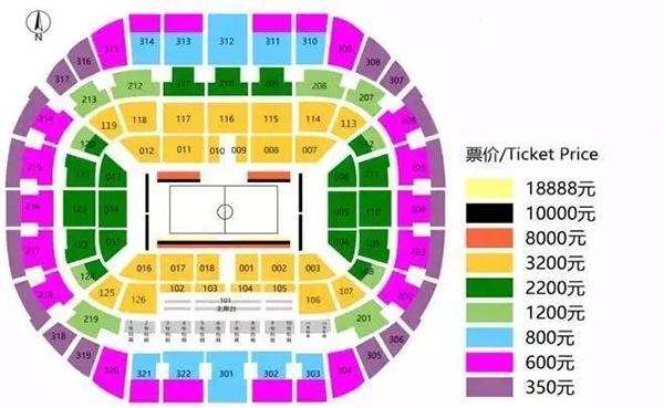 NBA中国赛深圳站票价及座位图