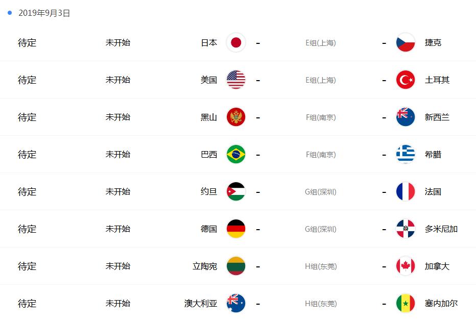 男篮全国杯赛程表