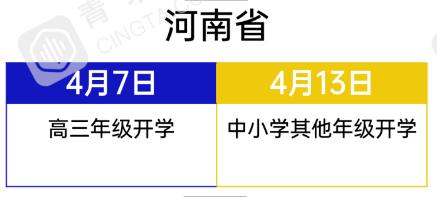 河南省2020中小学春季学期开学时间公布